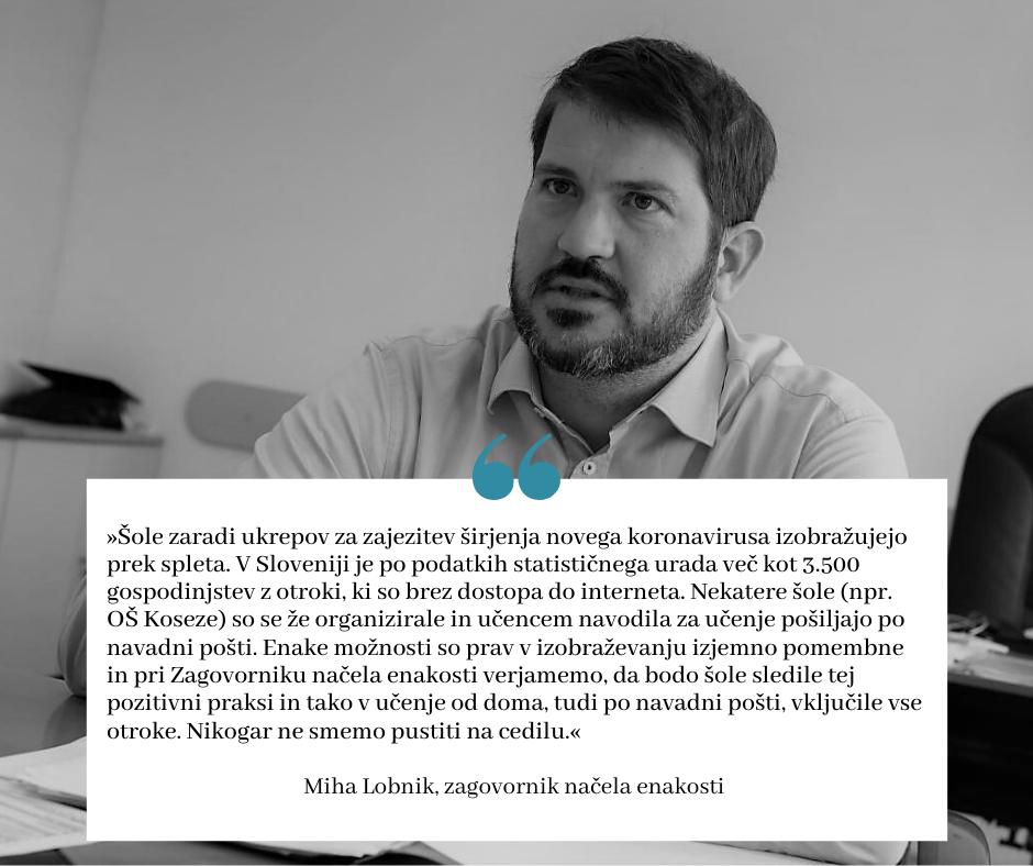 Slika Zagovornika načela enakosti Mihe Lobnika s citatom.